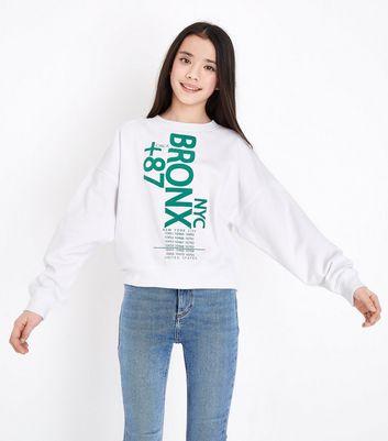 Teens White NYC Bronx Print Sweatshirt New Look