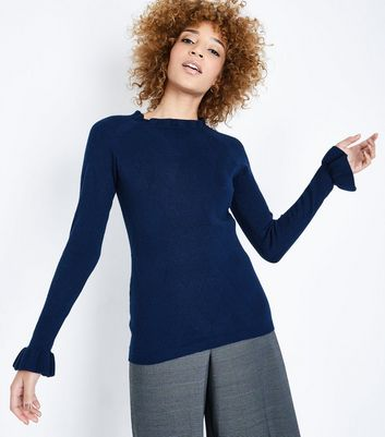 Apricot Navy Frill Sleeve Knit Jumper New Look