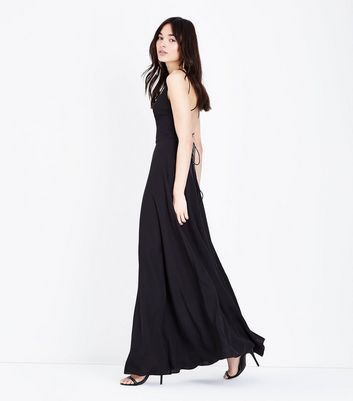 Black Lace Up Back Maxi Dress by New Look