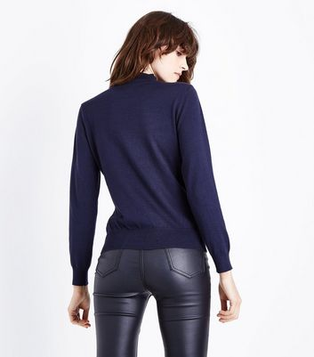 Apricot Navy Lace Insert Jumper New Look