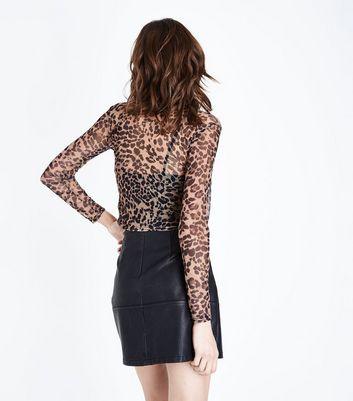 Brown Leopard Print Mesh Top New Look