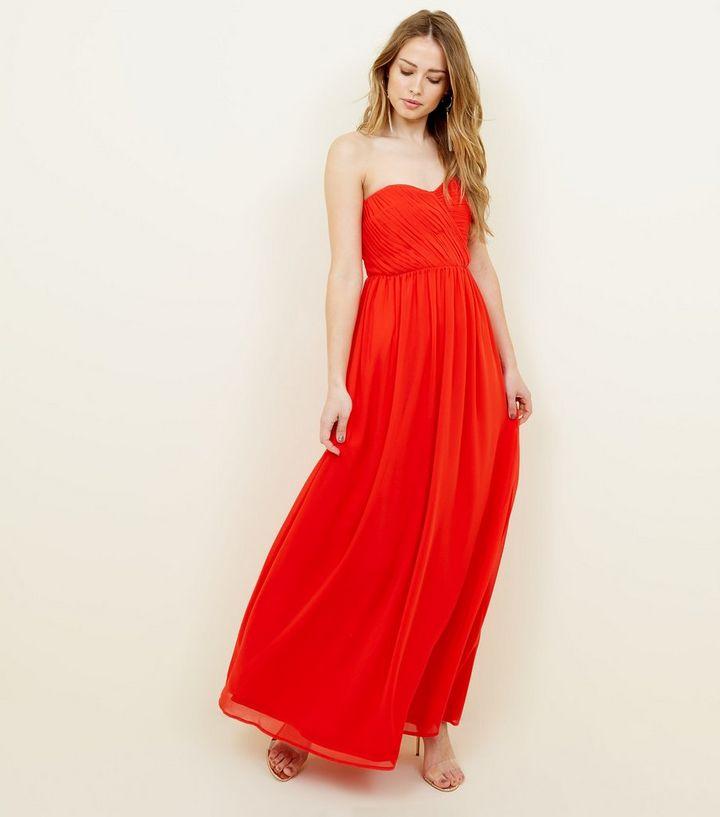Red Chiffon Strapless Maxi Dress  243eefb5ae