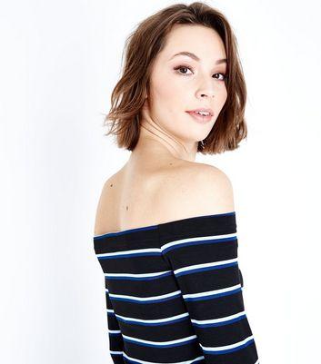 Blue Stripe Bell Sleeve Bardot Neck Crop Top New Look