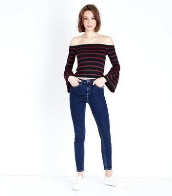 Red Stripe Bell Sleeve Bardot Neck Top New Look