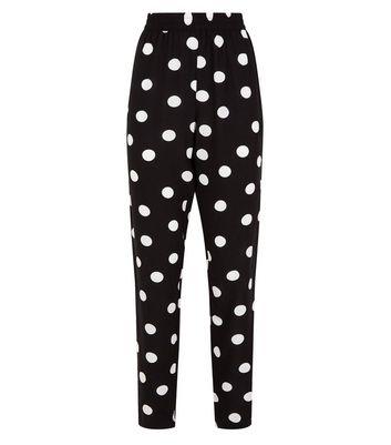 JDY Black Polka Dot High Waist Joggers New Look