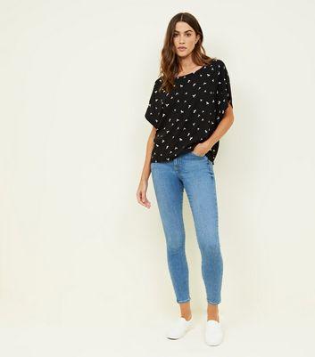 JDY Black Bird Print Woven T-Shirt New Look