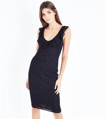 Black Lace Frill Trim Midi Dress New Look