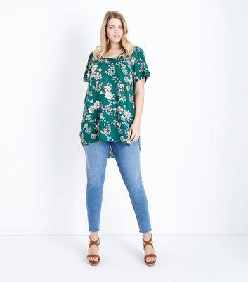 Curves Green Floral Print Dip Hem Top New Look