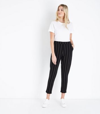 Black Stripe Tapered Trousers New Look