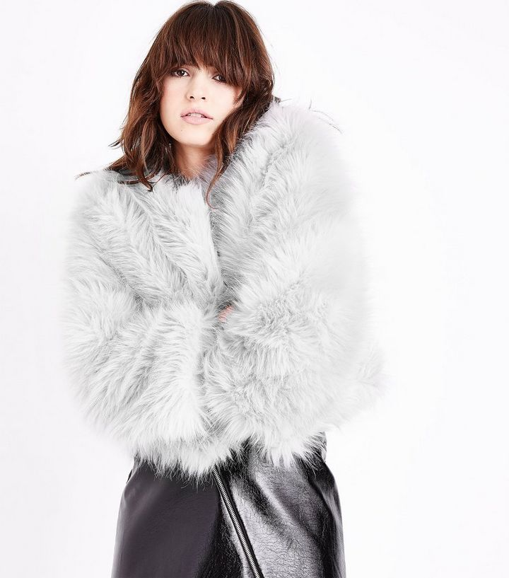0e0deb4cebd Cameo Rose Pale Grey Faux Fur Coat | New Look