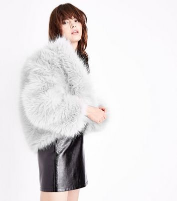 Cameo Rose Pale Grey Faux Fur Coat New Look