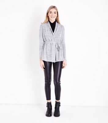 Pale Grey Fine Knit Wrap Front Cardigan New Look
