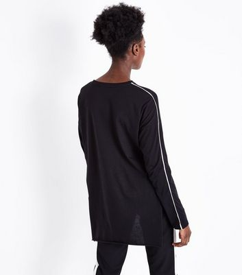 Black Stripe Sleeve Longline T-Shirt New Look