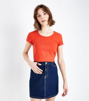 Orange Cotton Mix Fitted T-Shirt