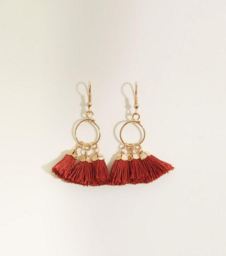 Cameo Rose Tassel Charm Hoop Earrings New Look