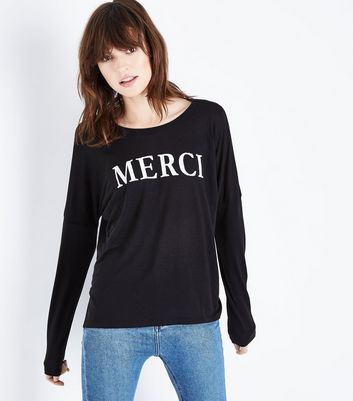 Black Merci Beaded Slogan Long Sleeve T-Shirt New Look