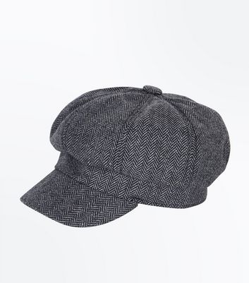 Dark Grey Tweed Baker Boy Hat New Look