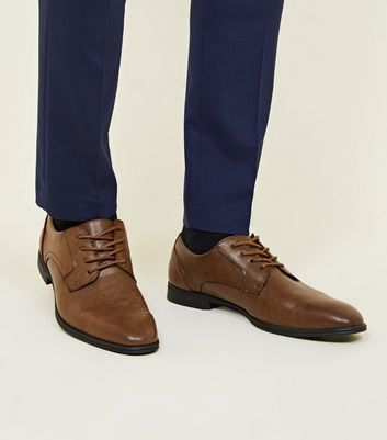 Dark Brown Leather-Look Lace-Up Formal Shoes