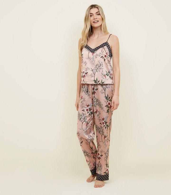 8077c25148 Selina Tall Mid Pink Floral Satin Pyjama Trousers