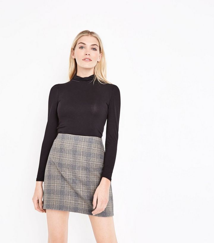 0d9c475d82386 Grey Brushed Check Mini Skirt Add to Saved Items Remove from Saved Items