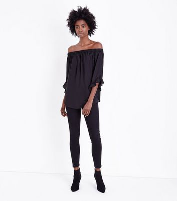 Black Frill Trim Longline Bardot Neck Top New Look
