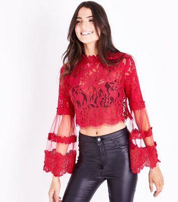 Parisian Red Lace Flared Sleeve High Neck Crop Top New Look