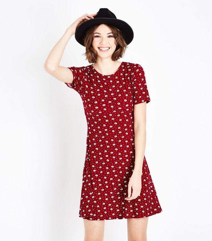 Tall Red Ditsy Floral Soft Touch Skater Dress  b9bb66c69