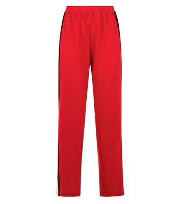 Parisian Red Popper Stripe Side Wide Leg Trousers New Look