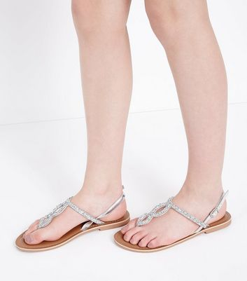 Teens Silver Leather Crystal Strap Flat
