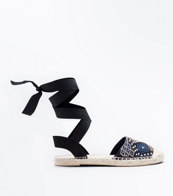 b27da2ed513 Black Aztec Embroidered Ankle Tie Espadrilles Add to Saved Items Remove  from Saved Items