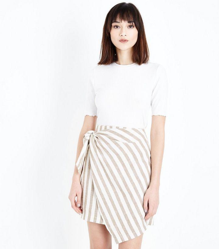 a327d48c7e White Stripe Linen Blend Wrap Mini Skirt | New Look