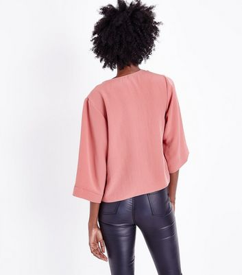 Mid Pink Wrap Front Top New Look