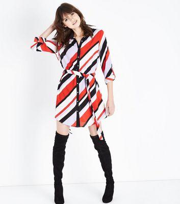 Parisian Red Stripe Diagonal Shirt Dress New Look