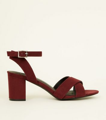 Girls Dark Red Suedette Cross Front Block Heels