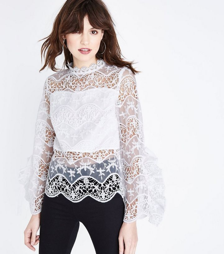 3af67f49450275 Parisian White Lace Frill Sleeve Top | New Look