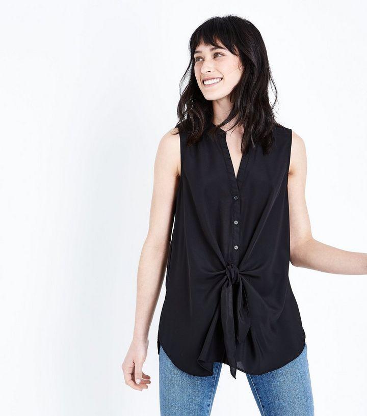 e566126617f3a Black Tie Front Sleeveless Shirt