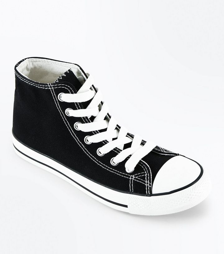 11c9201b4ed Black Canvas Stripe Sole High Top Trainers Add to Saved Items Remove from  Saved Items