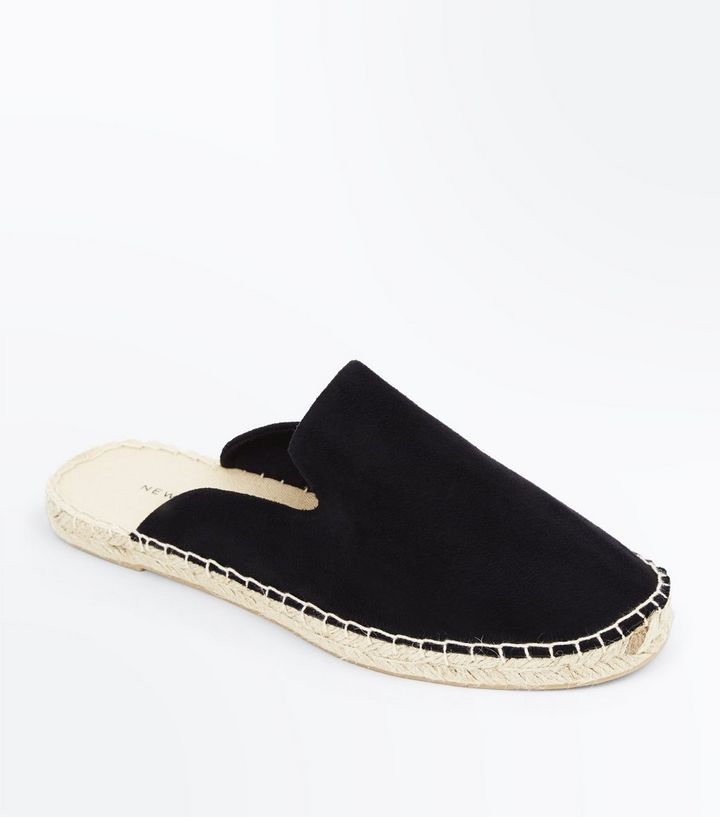 b6bba6d2f Black Suedette Espadrille Mules | New Look