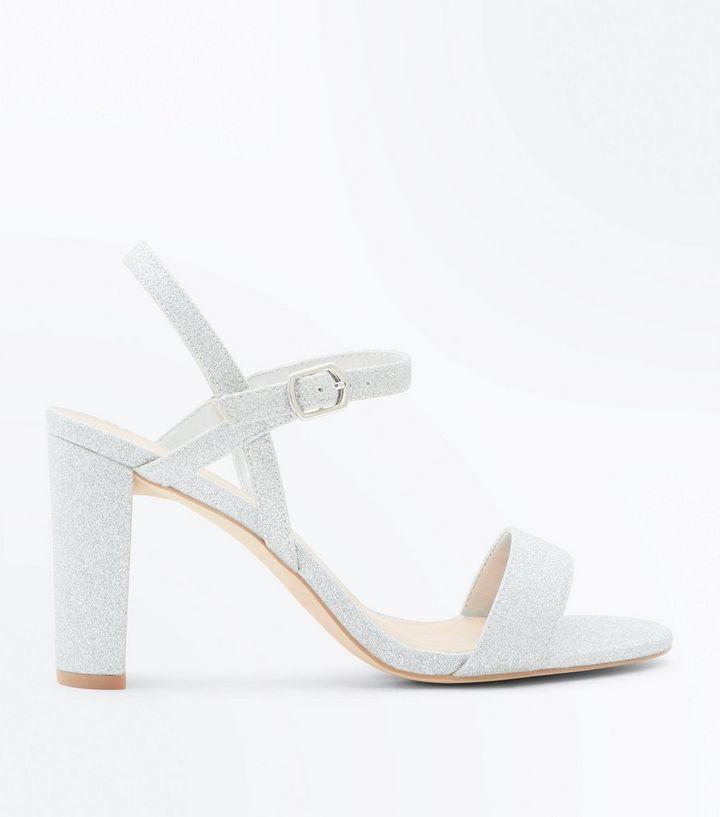 Wide Fit Silver Glitter Block Heel Wedding Sandals  198baa072ed9