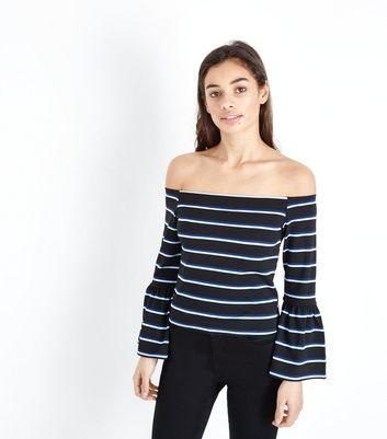 Petite Navy Stripe Bell Sleeve Bardot Top New Look