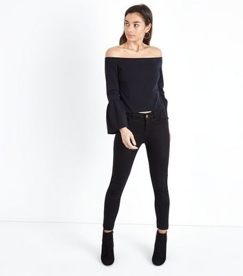 Petite Black Bell Sleeve Bardot Neck Top New Look