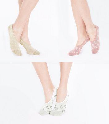3 Pack Multi Coloured Glitter Pop Socks New Look