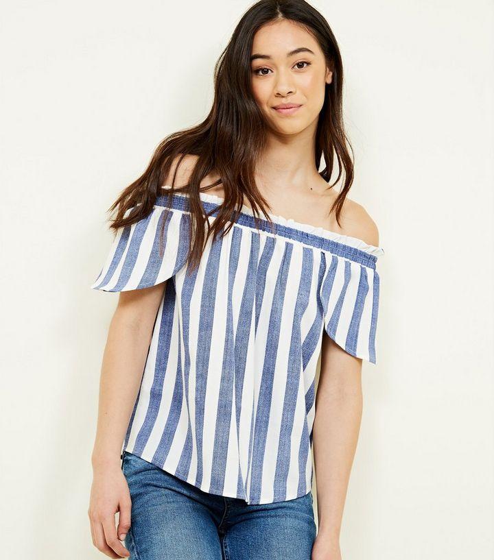 1611d7c94faea2 Blue Woven Stripe Bardot Top