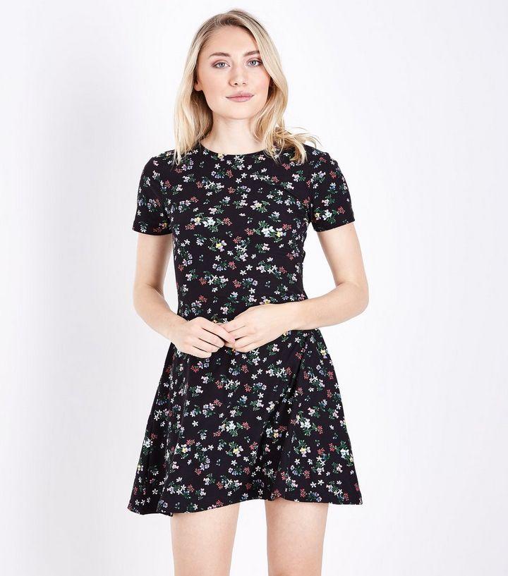 6e693a0c57 Petite Black Floral Soft Touch Skater Dress