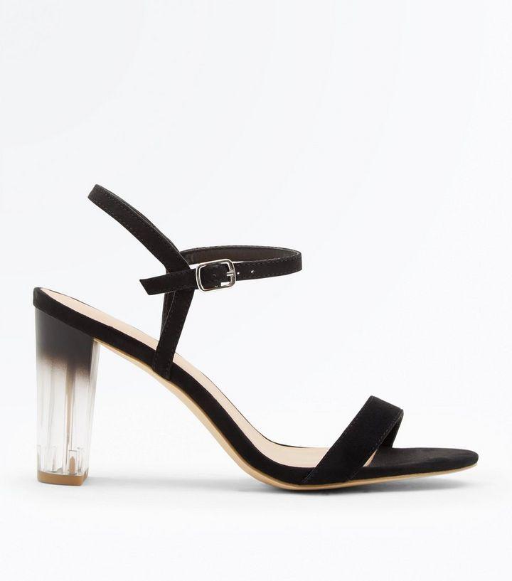 fdad3be8e2b ... Wide Fit Black Clear Ombré Heel Sandals. ×. ×. ×. Shop the look