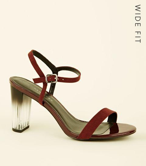 Wide Fit Burgundy Clear Ombré Heel Sandals