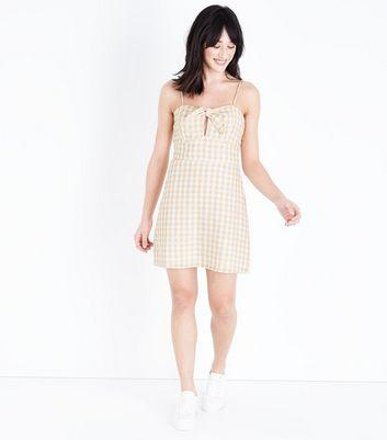 Parisian Mustard Check Bow Front Dress New Look