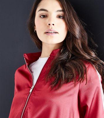 Parisian Burgundy Satin Stripe Side Bomber Jacket New Look