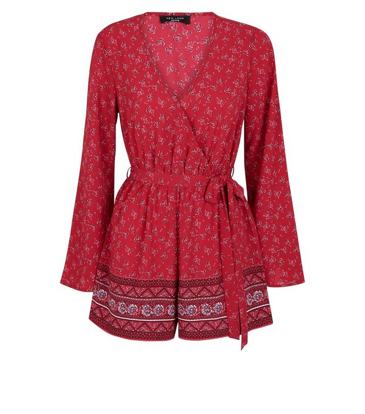 3481fac3f3 ... Petite Red Floral Wrap Front Playsuit. ×. ×. ×. Shop the look