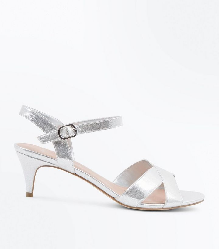 0be77cbdbf1 Wide Fit Silver Kitten Heel Wedding Sandals Add to Saved Items Remove from  Saved Items
